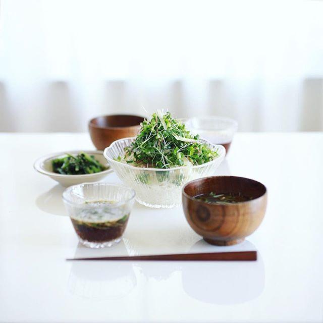 今日のお昼ご飯は、そうめんwith薬味大量、小松菜の胡麻和え、水菜としめじのお味噌汁。うまい! (Instagram)