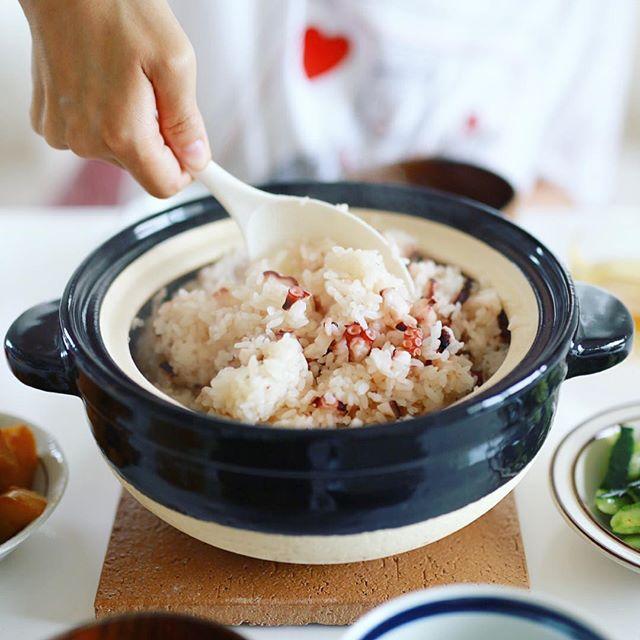 今日のお昼ご飯は土鍋でたこ飯。うまい! (Instagram)