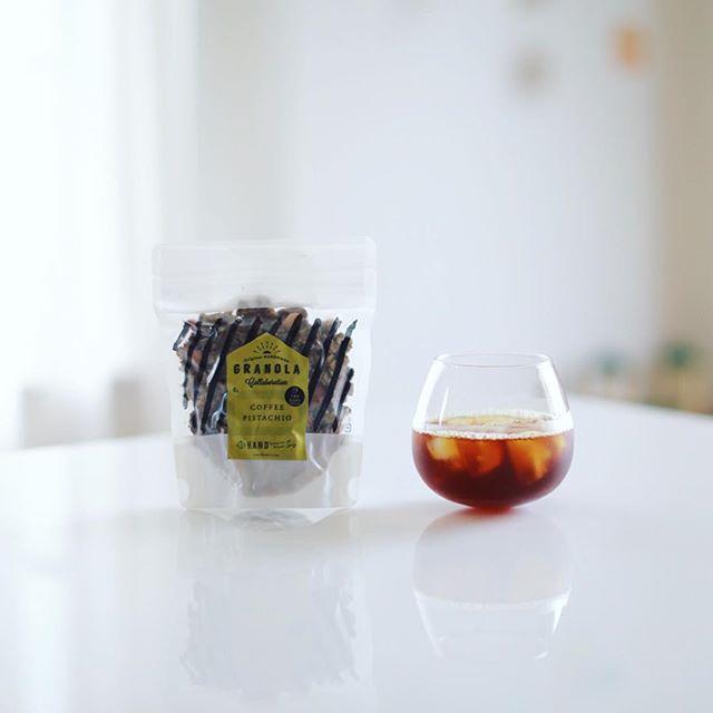 HAND×THE CUPSのコーヒーピスタチオグラノーラでグッドモーニングコーヒー。うまい! (Instagram)