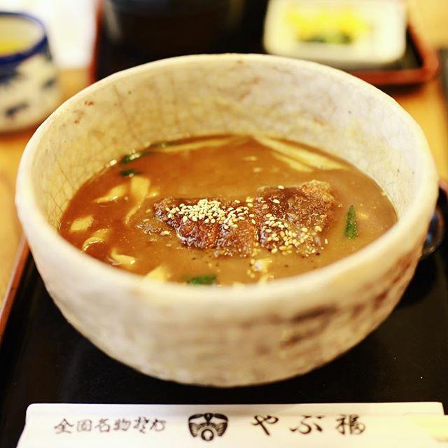 名駅エスカのやぶ福に味噌かつきしめん食べに来たよ。うまい!#オニマガ名古屋散歩 (Instagram)