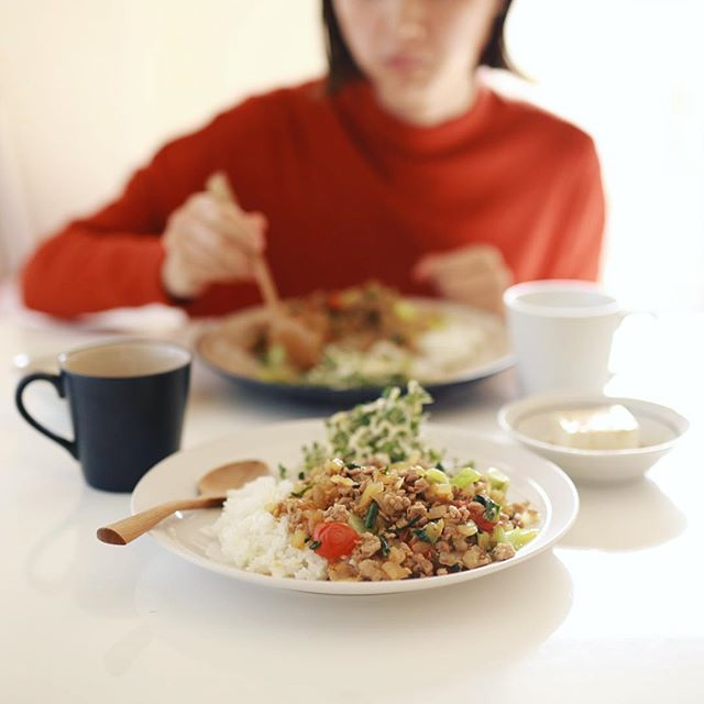 今日のお昼ごはんは、挽肉と青梗菜とトマトと玉ねぎの炒めたやつご飯、サラダ、冷奴。うまい! (Instagram)