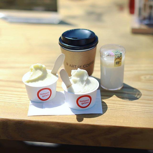 ともみジェラートとR ART OF COFFEEと不老園の和葛でおやつタイム。うまい!#オニマガ名古屋散歩 (Instagram)