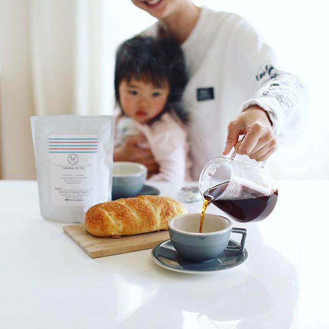 #switchcoffeetokyo のTHINKING OF YOUブレンドと #サンジェルマンタンドレス のチーズのパンでグッドモーニングコーヒー。うまい! (Instagram)