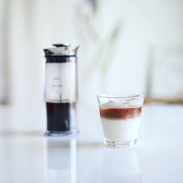 グッドモーニング #アメリカプレス カフェオレ。豆22g お湯150ml 氷200g 牛乳200ml で2杯分なレシピ。うまい! (Instagram)