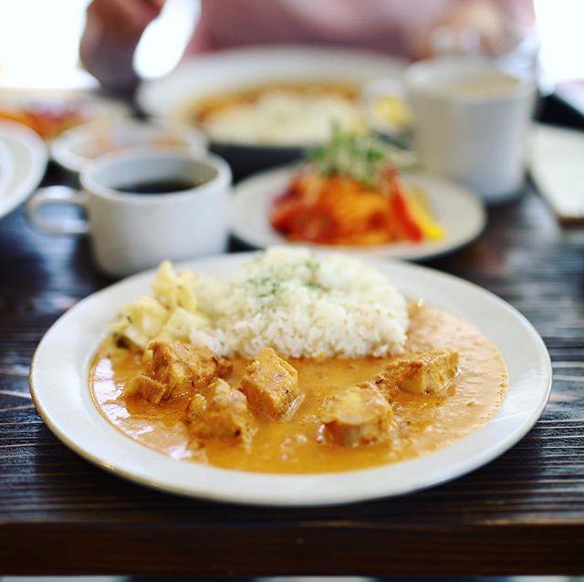 豊田に遊びに来たのでLittle Cockooでカレー&コーヒーのお昼ごはん。チキントマトクリームカレー。うまい! (Instagram)