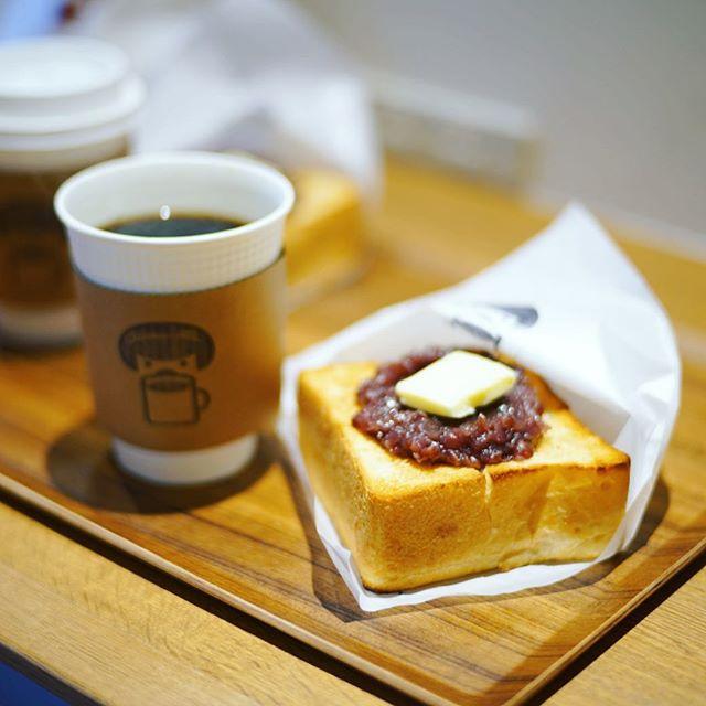 八事日赤にオープンした、よいことパンにモーニングしに来たよ。あんバタートースト&ホットコーヒー。コーヒーはGOLPIE COFFEEの豆。うまい!#オニマガ名古屋散歩 (Instagram)