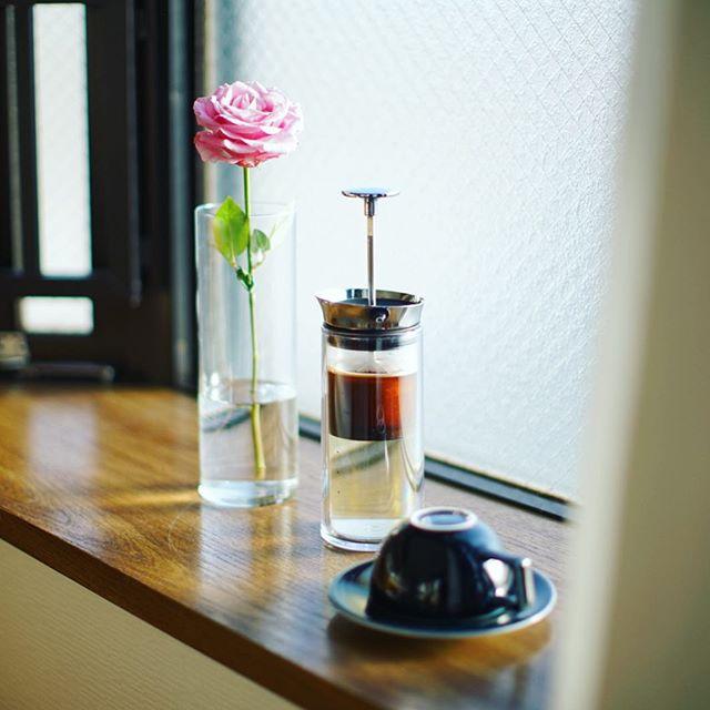 グッドモーニングコーヒー。今日はアメリカンプレスで。うまい! (Instagram)