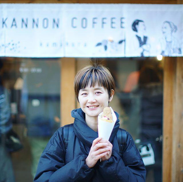 KANNON COFFEE kamakuraで3時のおやつ休憩。あんこと栗とラズベリーソースのクレープ。うまい! (Instagram)