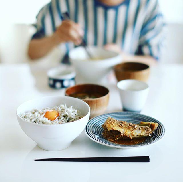 今日のお昼ご飯は、釜揚げしらすと新玉ねぎおかか和えのどんぶり、サバの味噌煮、春キャベツとキノコのお味噌汁。うまい! (Instagram)