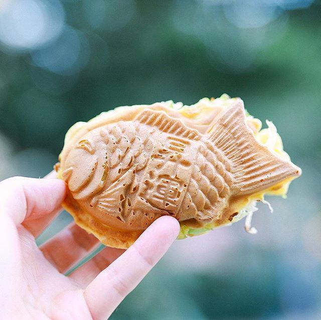 大須のたい焼き屋さん「おめで鯛焼き本舗」のお好み鯛焼きでおやつタイム。たい焼きの中身がお好み焼き!最近の大須はたい焼き屋さんのニューオープンが続きますなぁ。うまい!#オニマガ名古屋散歩 (Instagram)